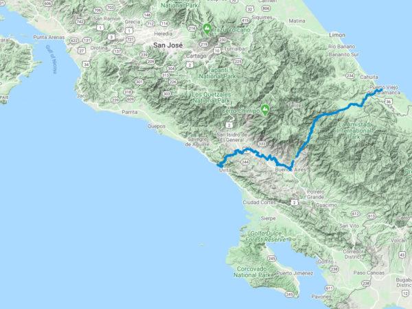 route-map-trek-across-Costa-Rica