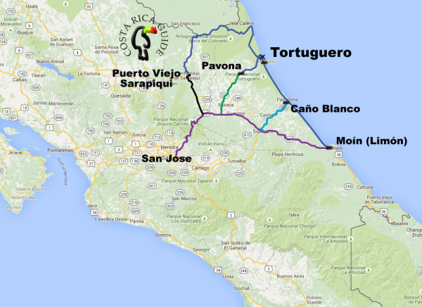 Map showing the four routes to reach Tortuguero by boat