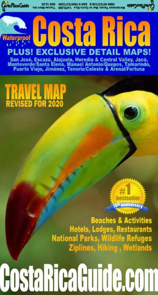 2020 update Waterproof Travel Map of Costa Rica