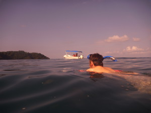Snorkeling from the boat on Cano Island