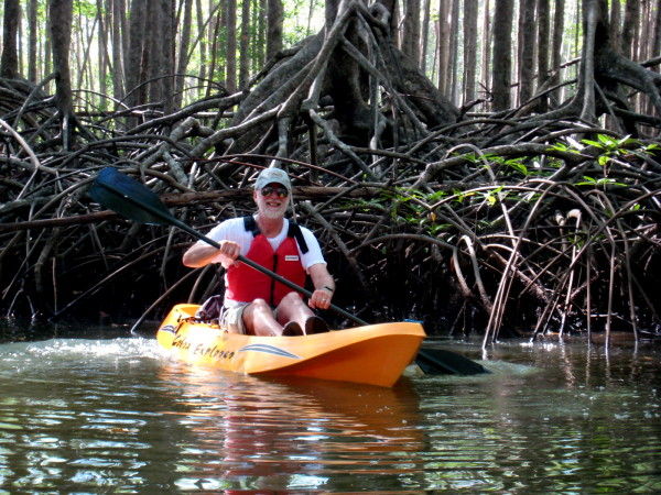 Dad paddling in front of a tangle of mangrove roots in the Hatillo Estuary on the central Pacific coast