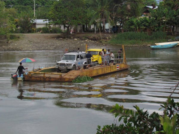 Car ferry across the Rio Sierpe Costa Rica