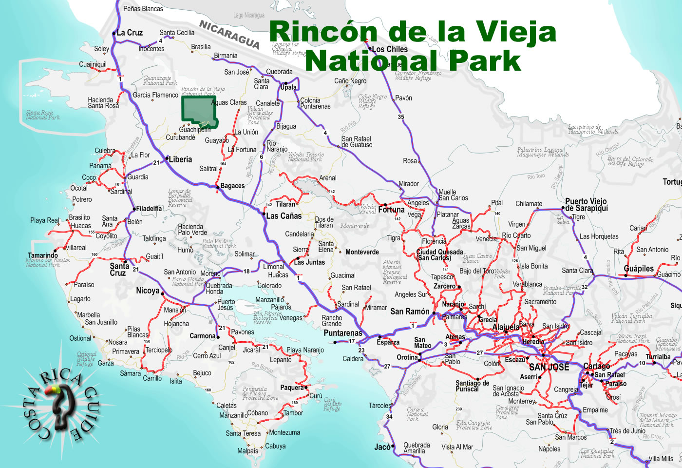 Image result for map of rincon de la vieja national park