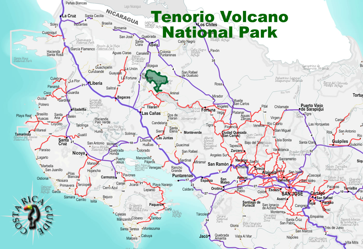 rio celeste costa rica map Tenorio Volcano National Park rio celeste costa rica map
