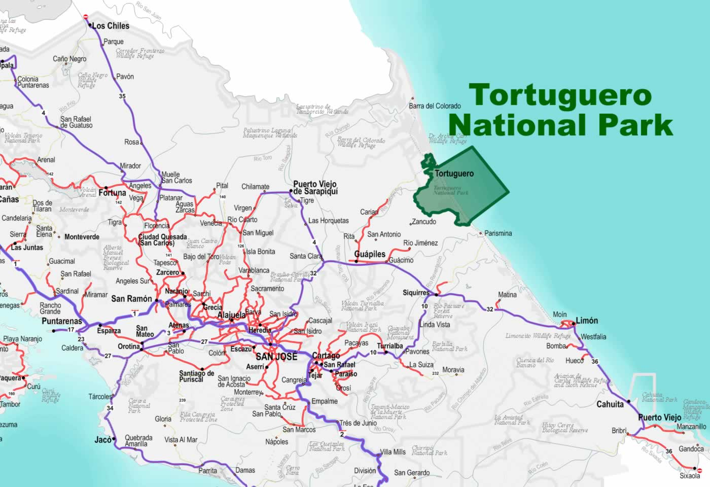 Tortuguero National Park – Tourist Attractions Map In Costa Rica