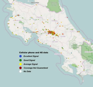 4G and Cell Phone Coverage Map of Costa Rica