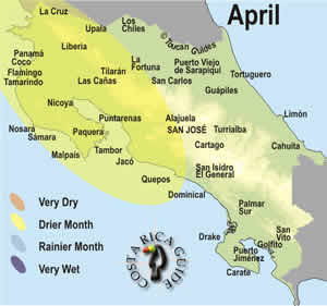 Map of April weather and rainfall patterns in Costa Rica