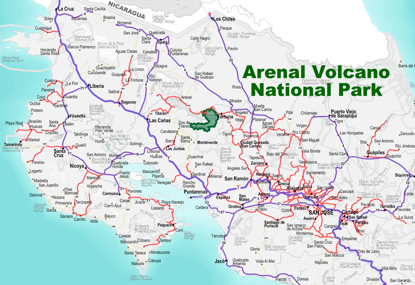 Image result for arenal costa rica map