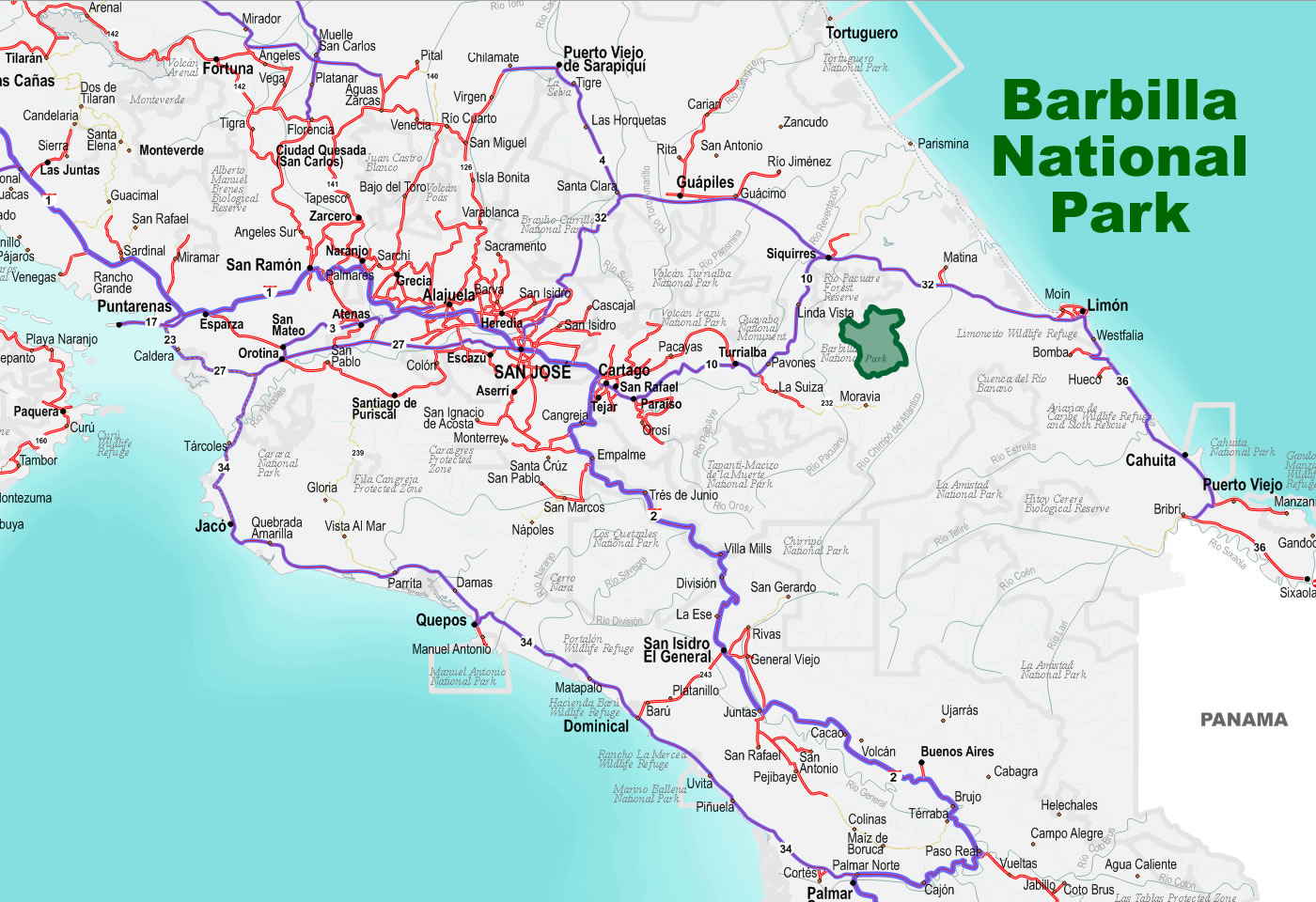 wiki list national parks costa rica