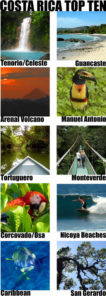 Costa Rica Top Ten Must See Destinations