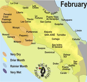 Costa Rica February Rainfall Patterns