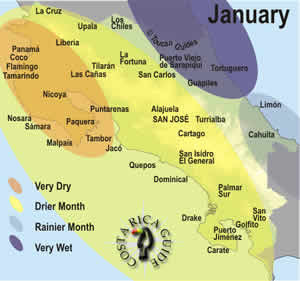 January weather patterns in Costa Rica