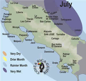 July rain and weather pattern map of Costa Rica