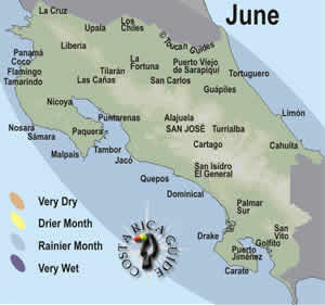 Map of costa Rica weather and rainfall patterns for June