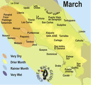March weather patterns in Costa Rica