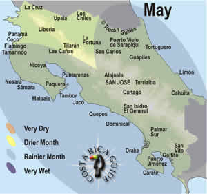 Map of costa Rica weather and rainfall patterns in May