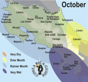 October weather and rainfall map for Costa Rica