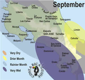 September rain map in Costa Rica