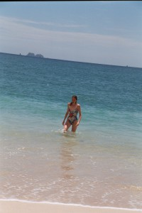 Sue takes a dip on road trip with Climaco from Fortuna Bagaces to Playa Conchal
