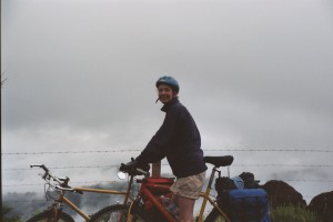Bikes loaded with panniers in the clouds above Orotina