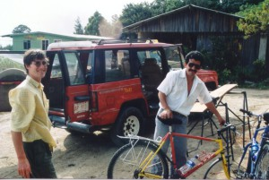 We loaded the bikes into a jeep taxi to take us around the lake and up the hill to Monteverde this time.