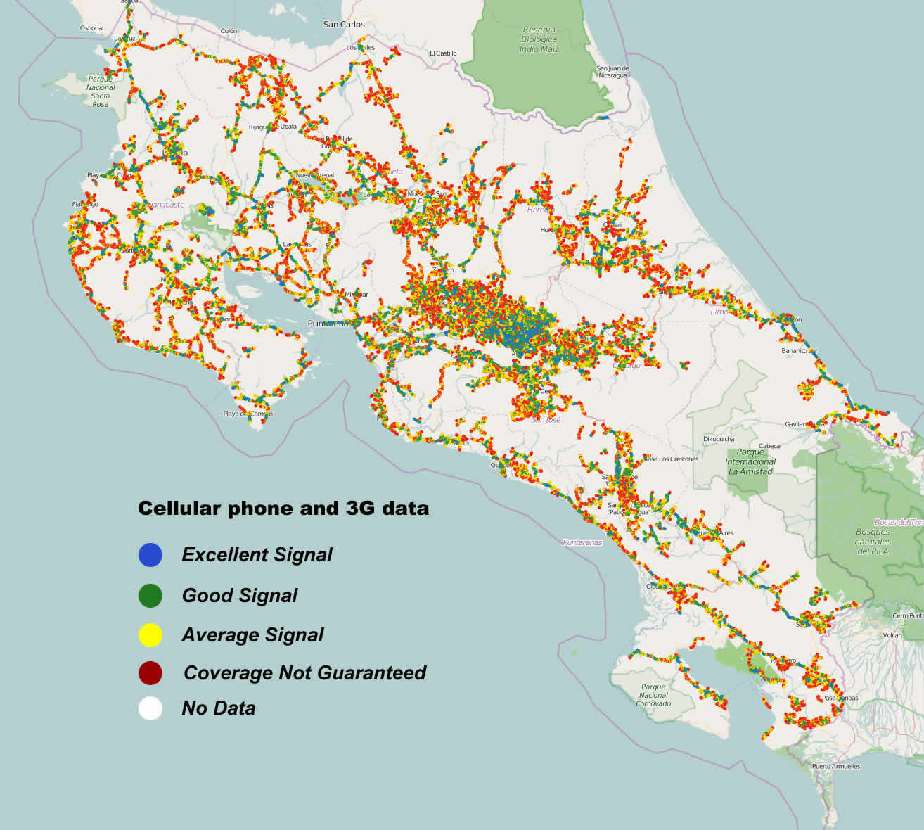 Cell Phone & Data Coverage Map of Costa Rica on