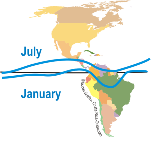 Actual ITCZ locations July and January