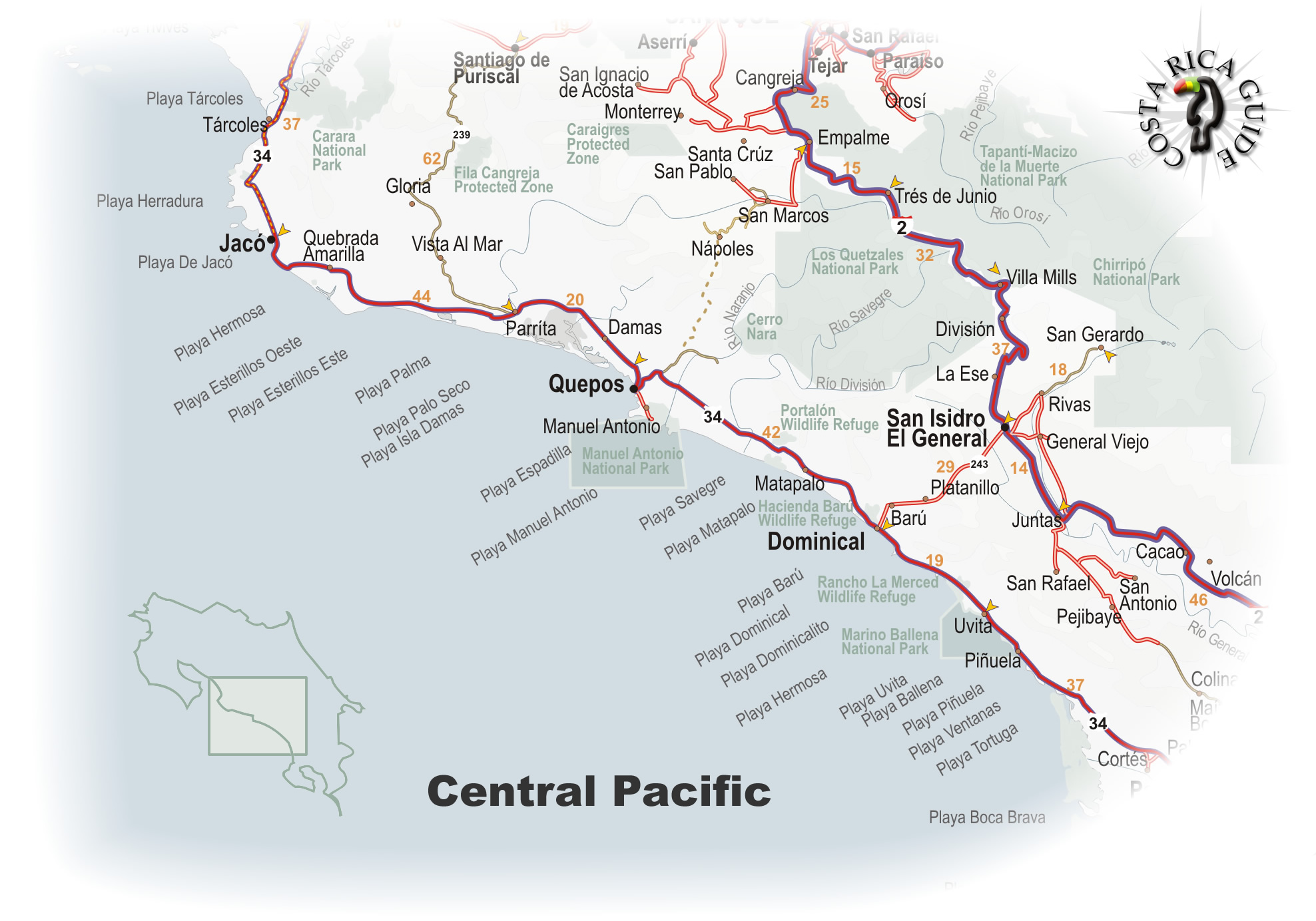 Map Of The Central Pacific Region Of Costa Rica - Costa rica regions map