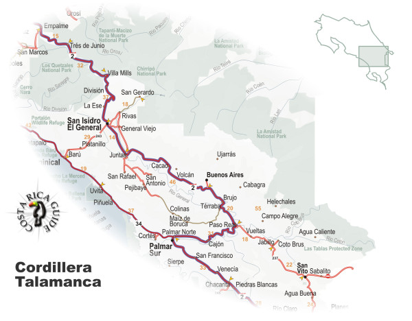 Map of the Cordillera Talamanca and Valle General Costa Rica