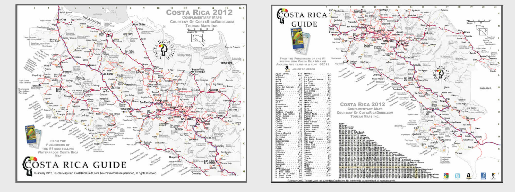 This is a picture of Vibrant Printable Map of Costa Rica