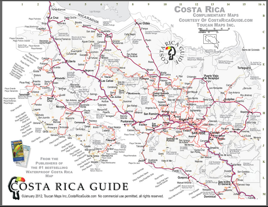 Costa Rica- free printable map download