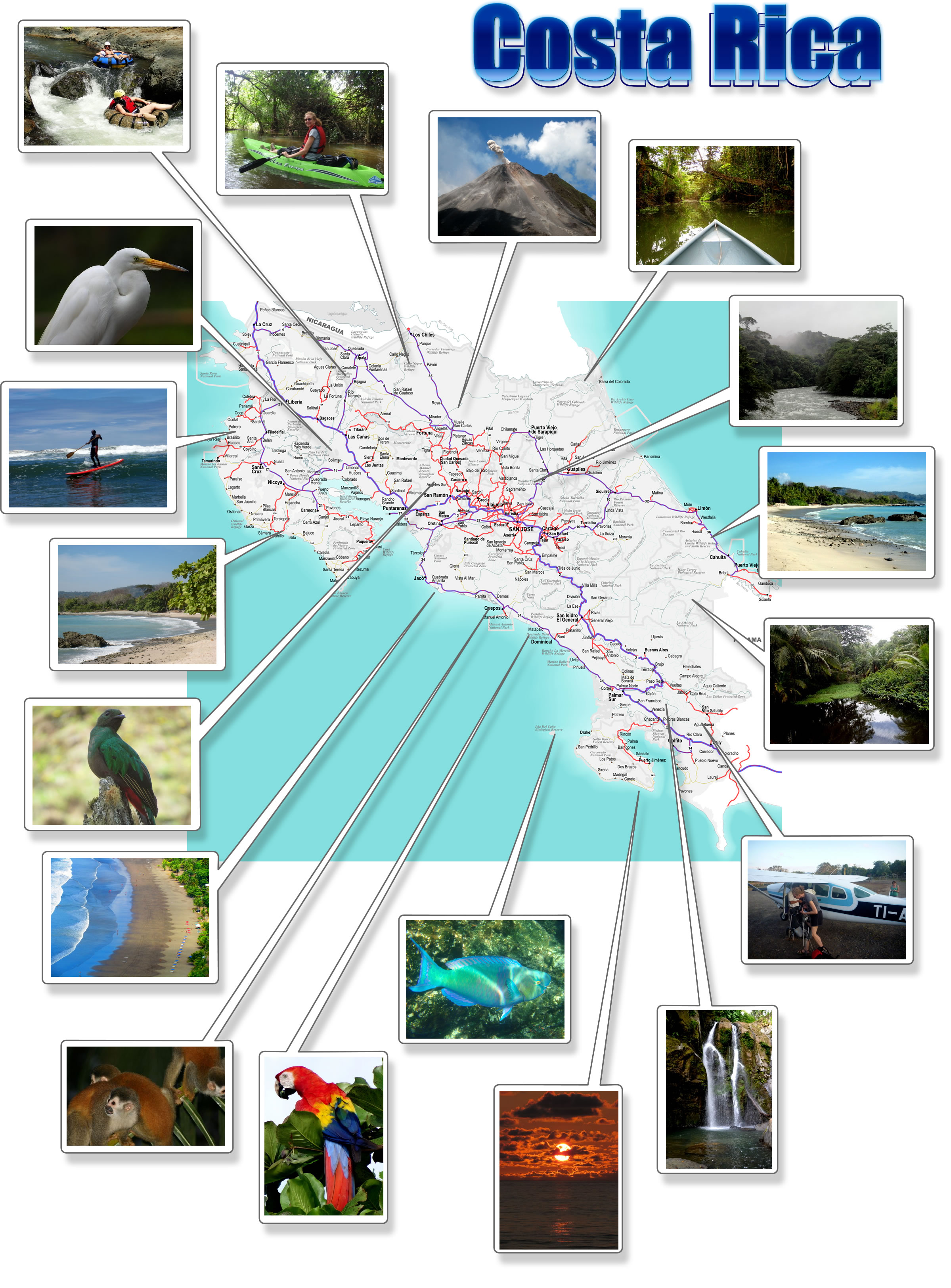 Costa Rica free printable map download – Tourist Map Of Costa Rica