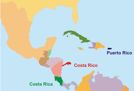 Map of the imaginary country of Costa Rico