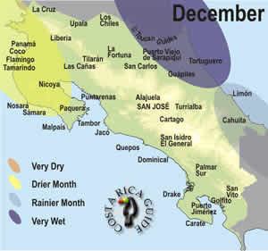December weather map of Costa Rica
