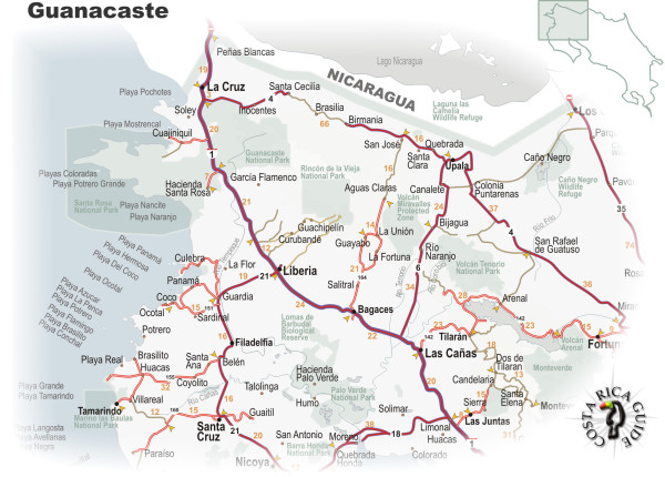 Map of the Guanacaste Region of Costa Rica