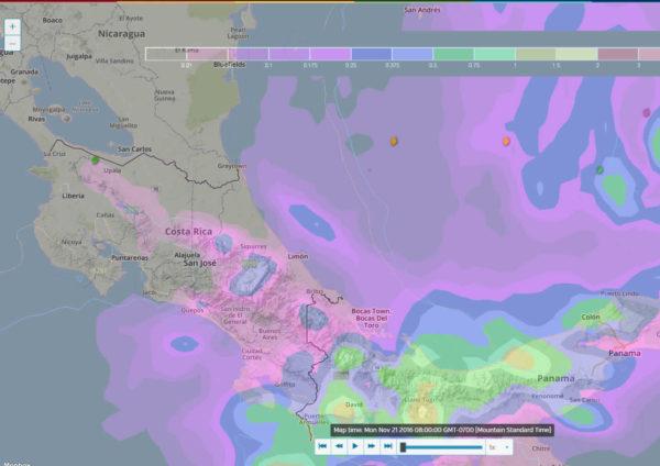 Troppical storm Otto in the Caribbean develops into Hurricane Otto over Costa Rica