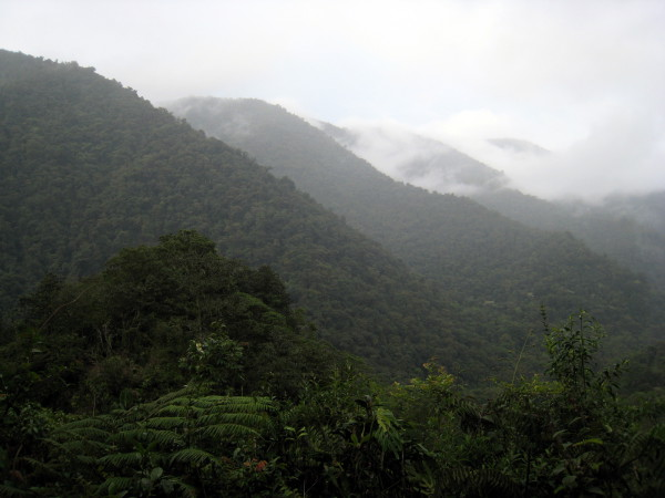 Clouds form over the mountains in rainy season