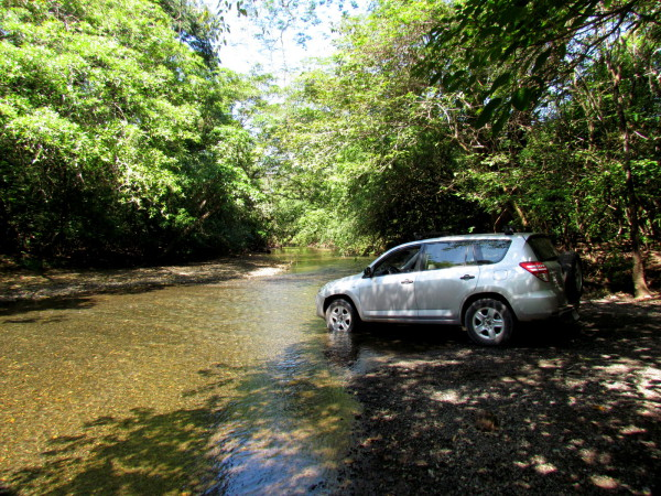 Fording German Creek (?) on the way from Cuajiniquil to the Murcielago sector of Santa Rosa National park
