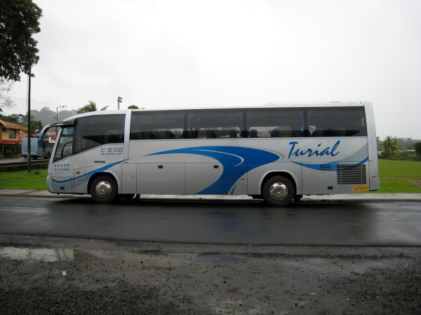 Even modern buses like this Mercedes Diesel burn more fuel and create more pollutants than air travel