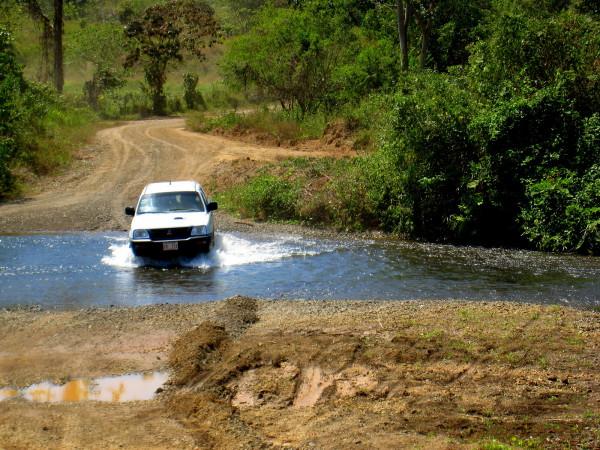 Fording a river in Costa Rica