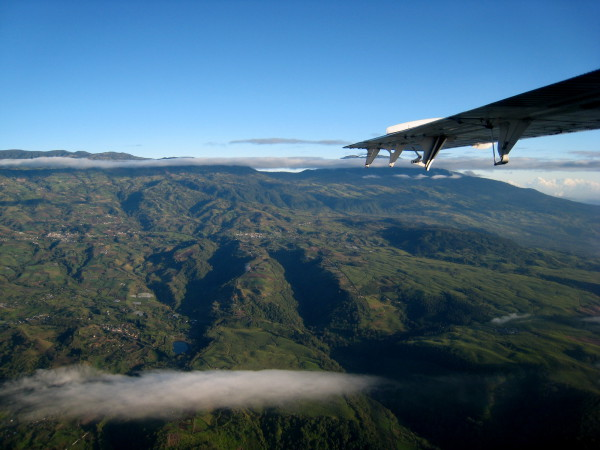 Aerial view of the cordillera volcanica central (central volcanic range) Costa Rica