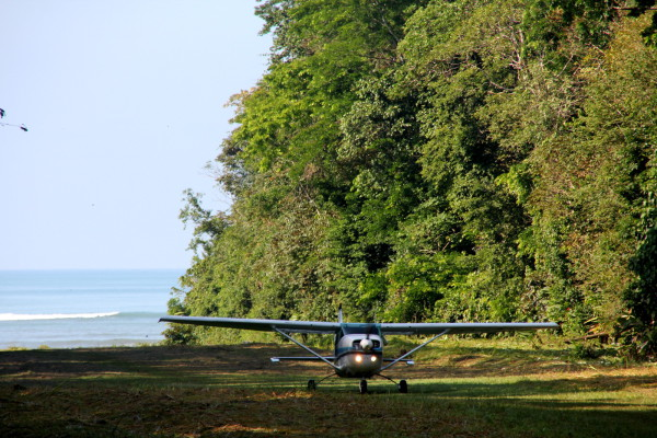 Grass Landing Strip at La Sirena - Alfa Romeo air taxi flight landing