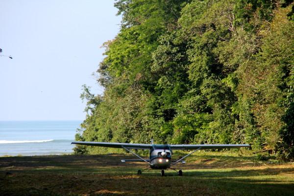 Grass Landing Strip at La Sirena - Alfa Romeo air taxi flight landing