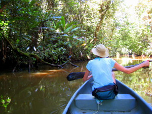 Sue in a canoe on a Tortuguero sendero acuatico