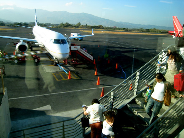 Passengers boarding at San Jose Airport