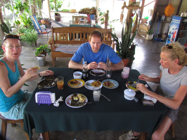 Cammie, Dave and Sue eating Tamales at Soda la Ceiba north of Bijagua