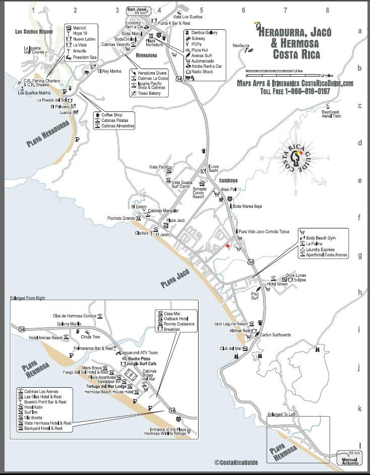 map of jaco costa rica Jaco Herradura Hermosa Free Printable Map Download map of jaco costa rica