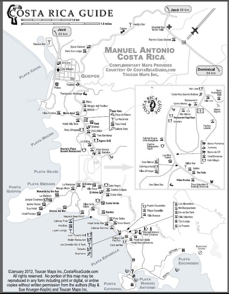 Manuel Antonio Map free printable download