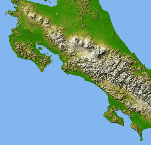 Shaded Relief Map of Costa Rica Showing Elevations