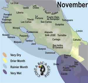 Weather and rainfall map for November in Costa Rica